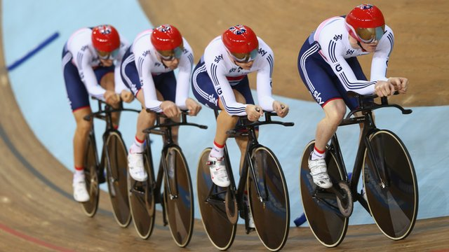 Great Britain&#039;s team pursuit cyclists