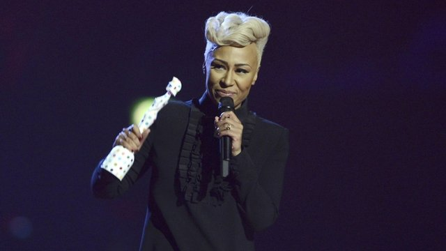 Emeli Sande accepts British Female Solo Artist award at the BRIT Awards