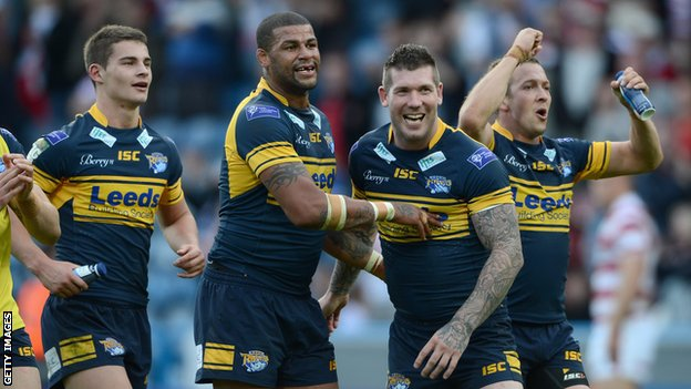(left to right) Stevie Ward, Ryan Bailey, Brett Delaney and Danny McGuire of Leeds Rhinos