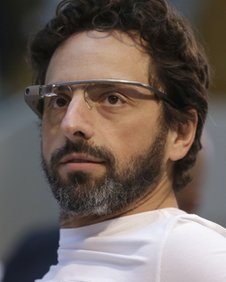 Google co-rounder Sergey Brin wears Google Glass glasses at an announcement for the Breakthrough Prize in Life Sciences 