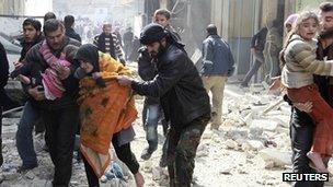 Civilians flee alleged jet strike in Aleppo. 20 Feb 2013