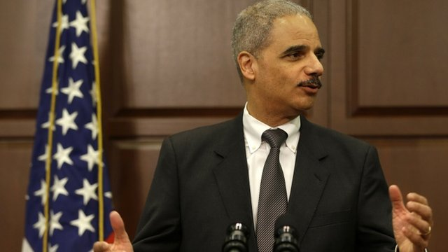 Attorney General Eric Holder speaking about the strategy to mitigate the theft of US trade secrets