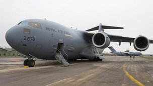 RAF C-17 transporter plane