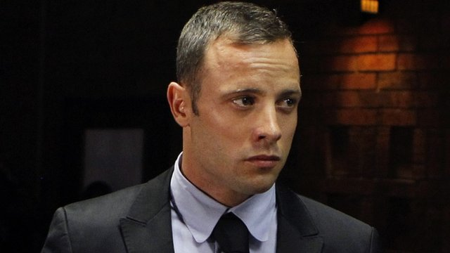 Oscar Pistorius in the dock during a break in court proceedings
