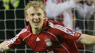 Dirk Kuyt celebrates a goal for Liverpool