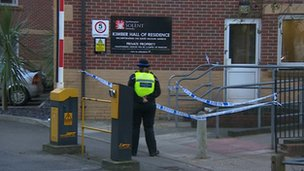 Police officer outside Kimber halls at Solent University