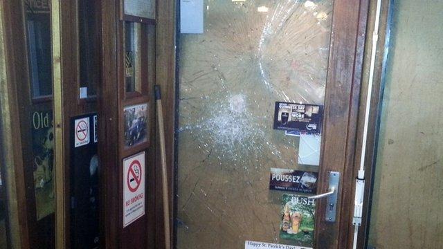 Smashed glass in Smoking Dog Pub, Lyon