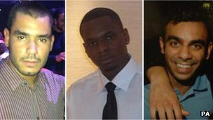 Grant Cameron, Karl Williams and Suneet Jeerh, three British men arrested in Dubai