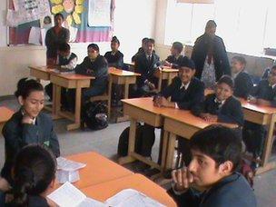 The Millennium School pupils discuss 'language' in class