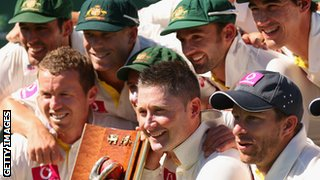 Michael Clarke and his team celebrate beating Sri Lanka in their most recetn Test series win