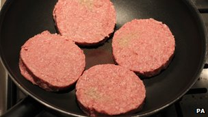 Burgers in a pan