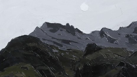 'Moon over Crib Goch' gan Syr Kyffin Williams