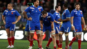 The French rugby team looked dejected following their defeat by Italy