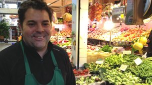 Bernardo Contesti, who owns a fruit and veg business in Santa Catalina market in Palma, Mallorca