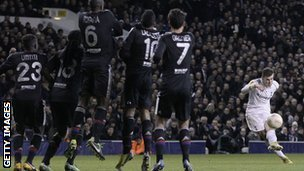 Gareth Bale scores in the first leg against Lyon