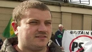 Stephen Murney pictured at a previous demonstration outside Newry courthouse