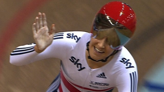 Great Britain&#039;s Dani King celebrates world team pursuit title