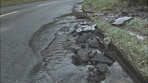 Damaged Cheddar Gorge road