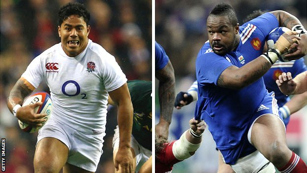 England centre Manu Tuilagi and France counterpart Mathieu Bastareaud
