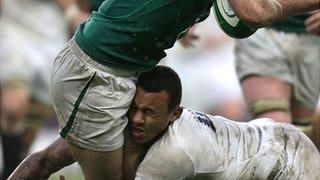Courtney Lawes sustains a head injury against Ireland
