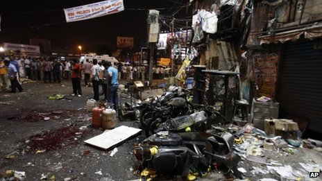 The site of a bomb blast in Hyderabad, India, 21 February 2013