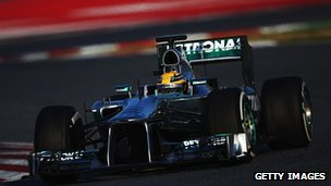Lewis Hamilton in the Mercedes