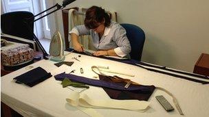 Seamstress at Maurizio Marinella's tie factory