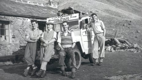 Team members at Black Sail, Ennerdale, in the 1950s