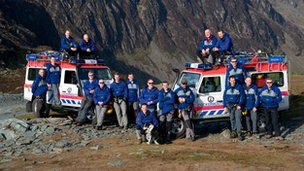 Team members at Fleetwith Pike