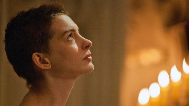 Anne Hathaway portraying Fantine