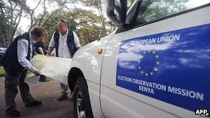Long-Term Observers (LTOs) of the European Union Election Observation Mission take a look at the Kenyan map