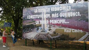 Billboard in Havana with quote by Raul Castro