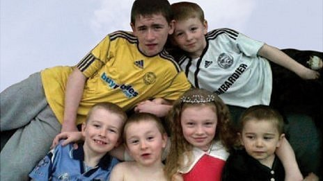 Duwayne Philpott, 13, Jade Philpott, 10, and brothers John, nine, Jack, seven, Jesse, six, and Jayden, five