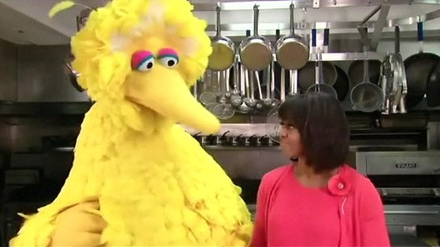 Big Bird and Michelle Obama