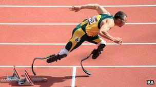 Oscar Pistorius on the athletics track