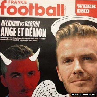 Joey Barton and David Beckham appear on France Football front page
