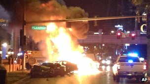 Burning vehicle on the Strip in Las Vegas, Nevada 21 February 2013