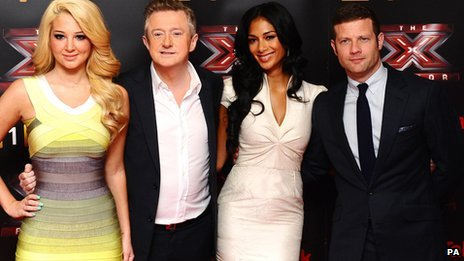X Factor judges Tulisa, Louis Walsh, Nicole Scherzinger and host Dermot O'Leary