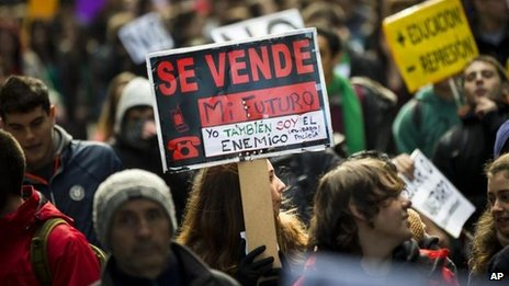 Anti-cuts protestors in Madrid earlier in February