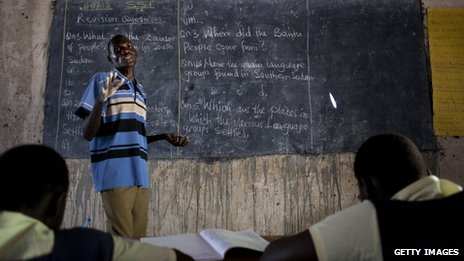 Students attend classes at the Ephatha Primary school, 18 July 2012 in Juba