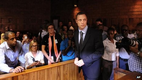 Oscar Pistorius in court, 22 February 2013