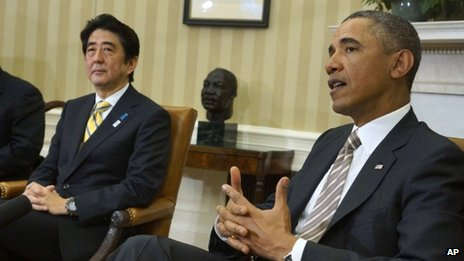 Japanese PM Shinzo Abe (left) and US President Barack Obama in the White House, Washington DC 22 February 2013