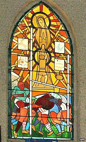 Stained-glass window in the chapel