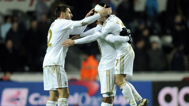 Swansea players celebrating