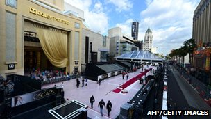Preparations are under way in California for red carpet arrivals along Hollywood Boulevard for Oscars