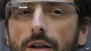 Google co-founder Sergey Brin models the company's wearable computer, Google Glass
