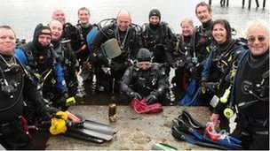 Divers after a litter pick on Lake Windermere
