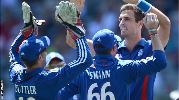 England paceman Steven Finn celebrates a wicket in Auckland
