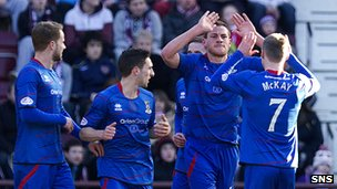 Inverness CT celebrate their early goal at Tynecastle