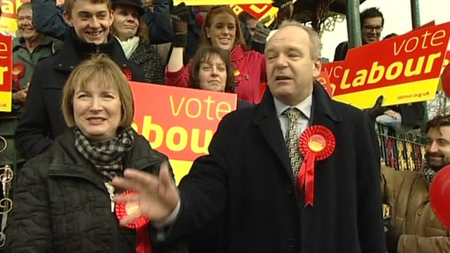 Labour's deputy leader Harriet Harman with Labour candidate John O'Farrell